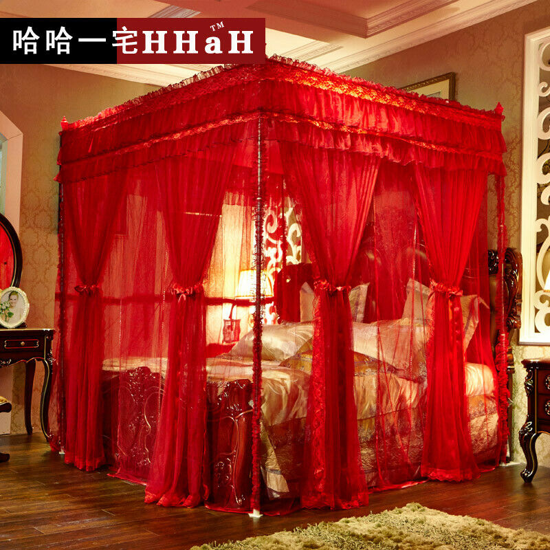 Luxury Bed Canopy Curtain Valance Double Layers Stainless Steel Frame Queen King Ebay
