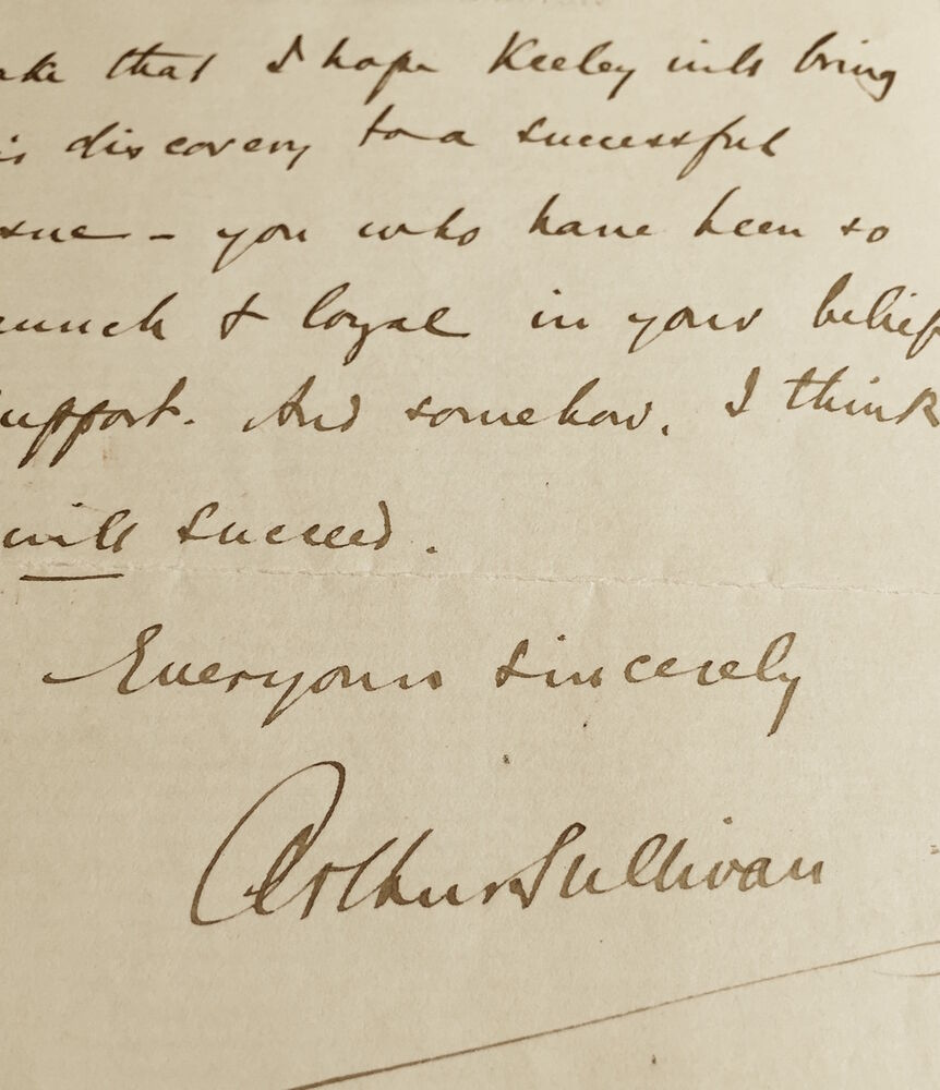 Autograph Letter Signed By Arthur Sullivan Re Keely Motor