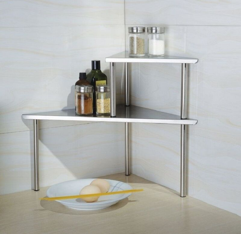Kitchen Corner Shelf Storage Rack Organizer Spices Cabinet