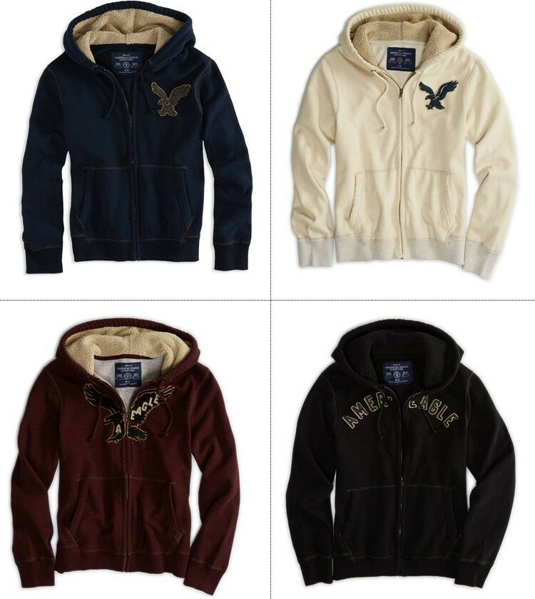 American eagle ae mens applique embroidery icon fur hoodie