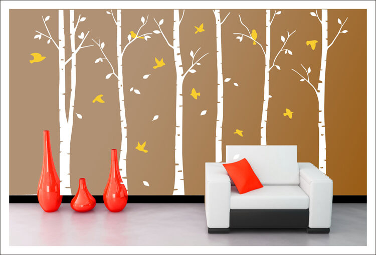 Giant stunning birch birds tree forest wall stickers decal for Big tree with bird wall decal deco art sticker mural