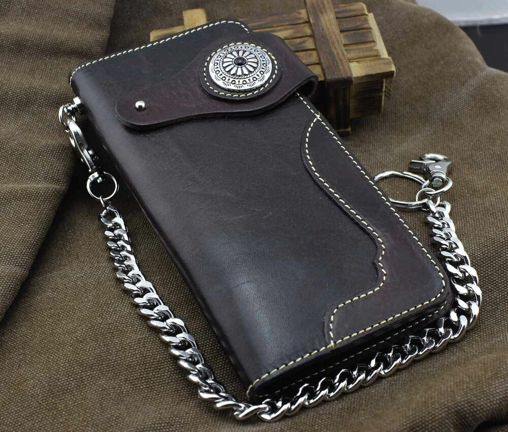 Handmade Thick Genuine Leather Long Retro Wallet W/ Chain ...