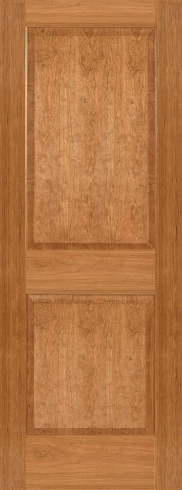 Cherry 2 panel square raised panels stain grade solid core interior wood doors ebay for Solid wood panel interior doors