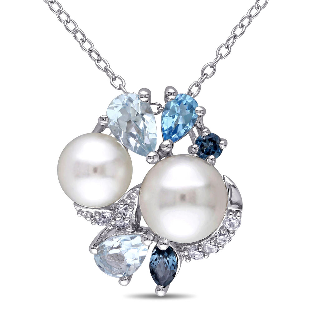 Blue Topaz And Pearl Necklace: Sterling Silver 6.5-8 Mm Pearl Blue Topaz & Sapphire
