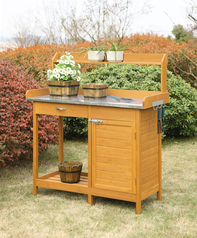 Garden potting bench table patio outdoor planting cabinet storage drawer shelf ebay Outdoor potting bench