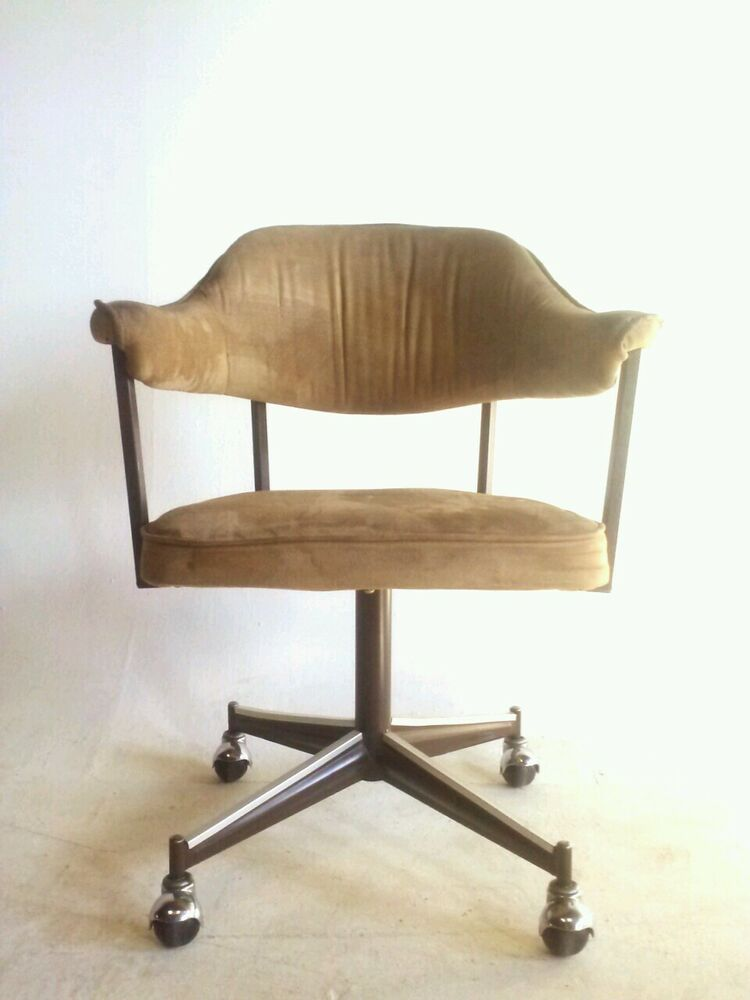4 Vintage Faux Leather Dining Modern Chair Office Brass