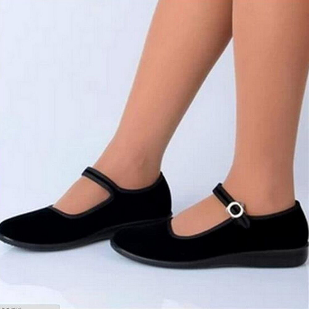 ladies chinese mary jane shoes ballerina work velvet fabric flats cotton sole ls ebay. Black Bedroom Furniture Sets. Home Design Ideas