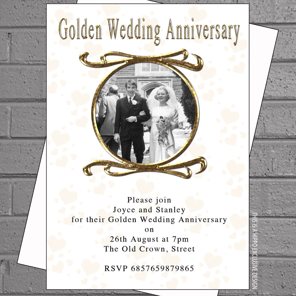 Golden Wedding Photo Anniversary Party Personalised Invitations X 12 Env H0353