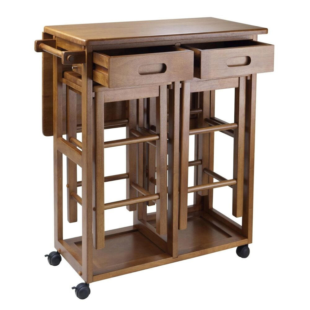 Kitchen Island Table Rolling Utility Cart Storage Portable Cabinet Wood Top Bar Ebay