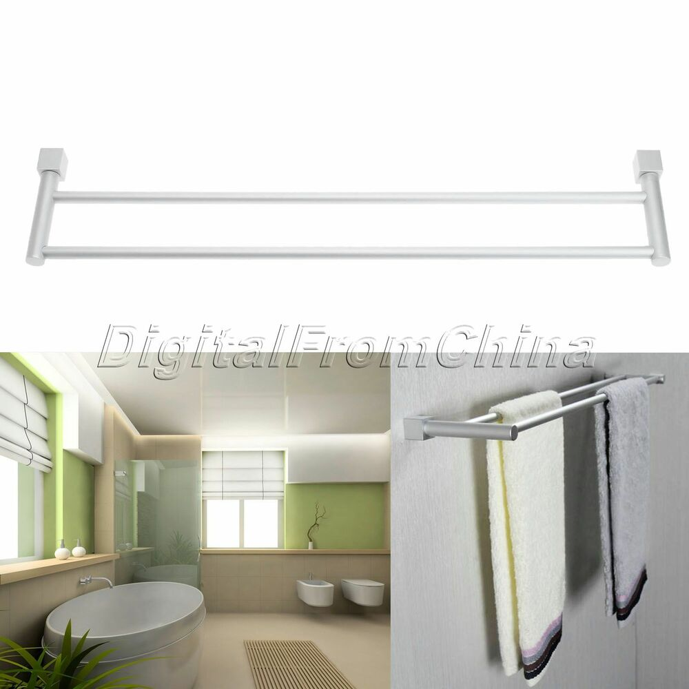 Space aluminum wall mounted double towel bar towel rack for Rack for bathroom accessories