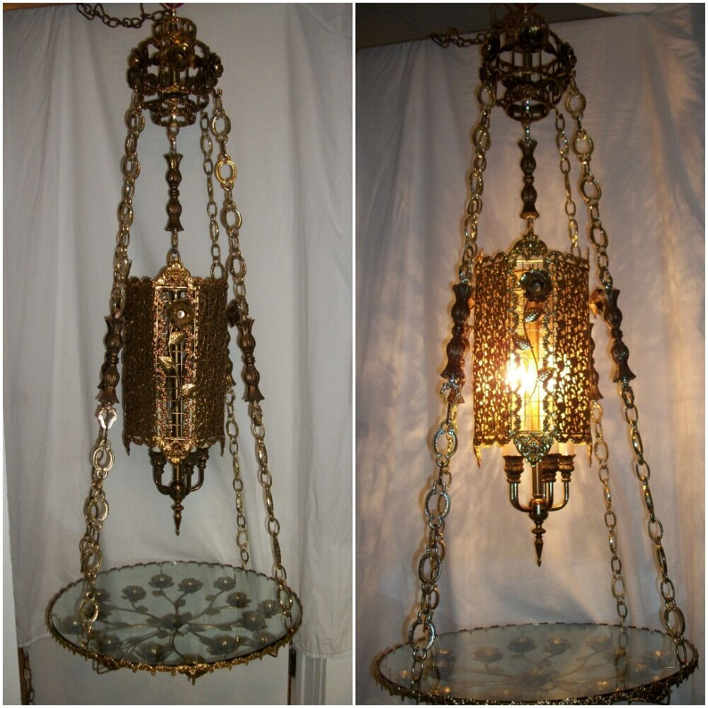 Chandelier Table Lamps: Vintage Hollywood Regency Hanging Table Lamp 1960s