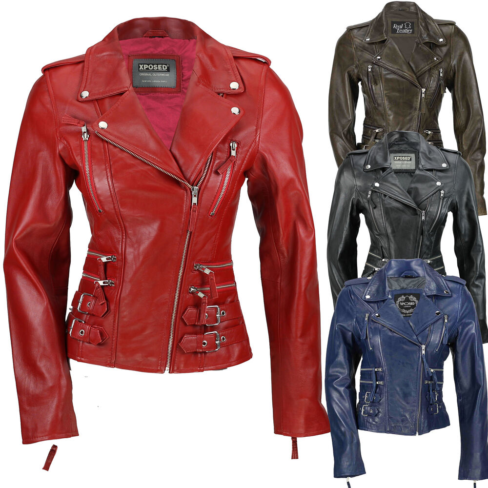 Ladies Womens Tan Blue Real Leather Fitted Vintage Biker