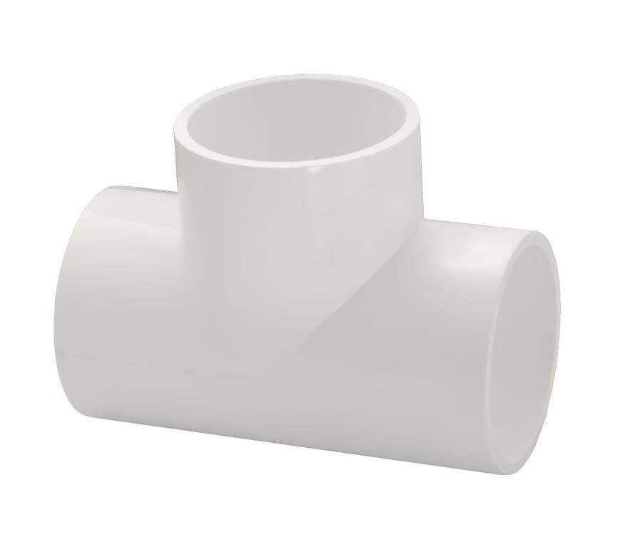Pvc straight tee pipe fitting socket slip inch