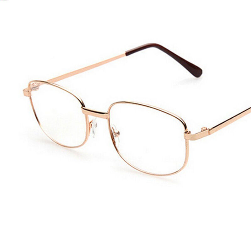 Fashion Lens Rimmed Mens Reading Glasses Gold Metal Frame ...