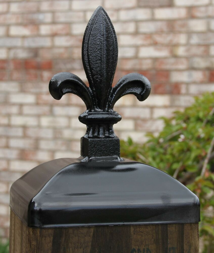 Post: 6x6 Cast Iron Fleur De Lis Post Cap, Wrought Iron Post Top