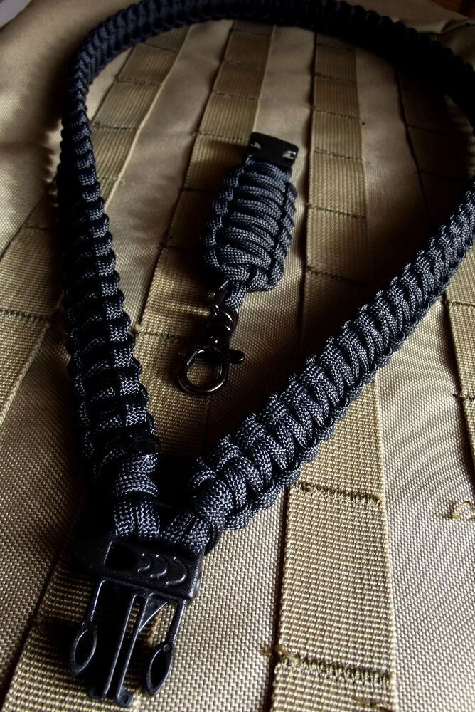 Black us 550 paracord neck lanyard key chain survival for How to make a paracord lanyard necklace