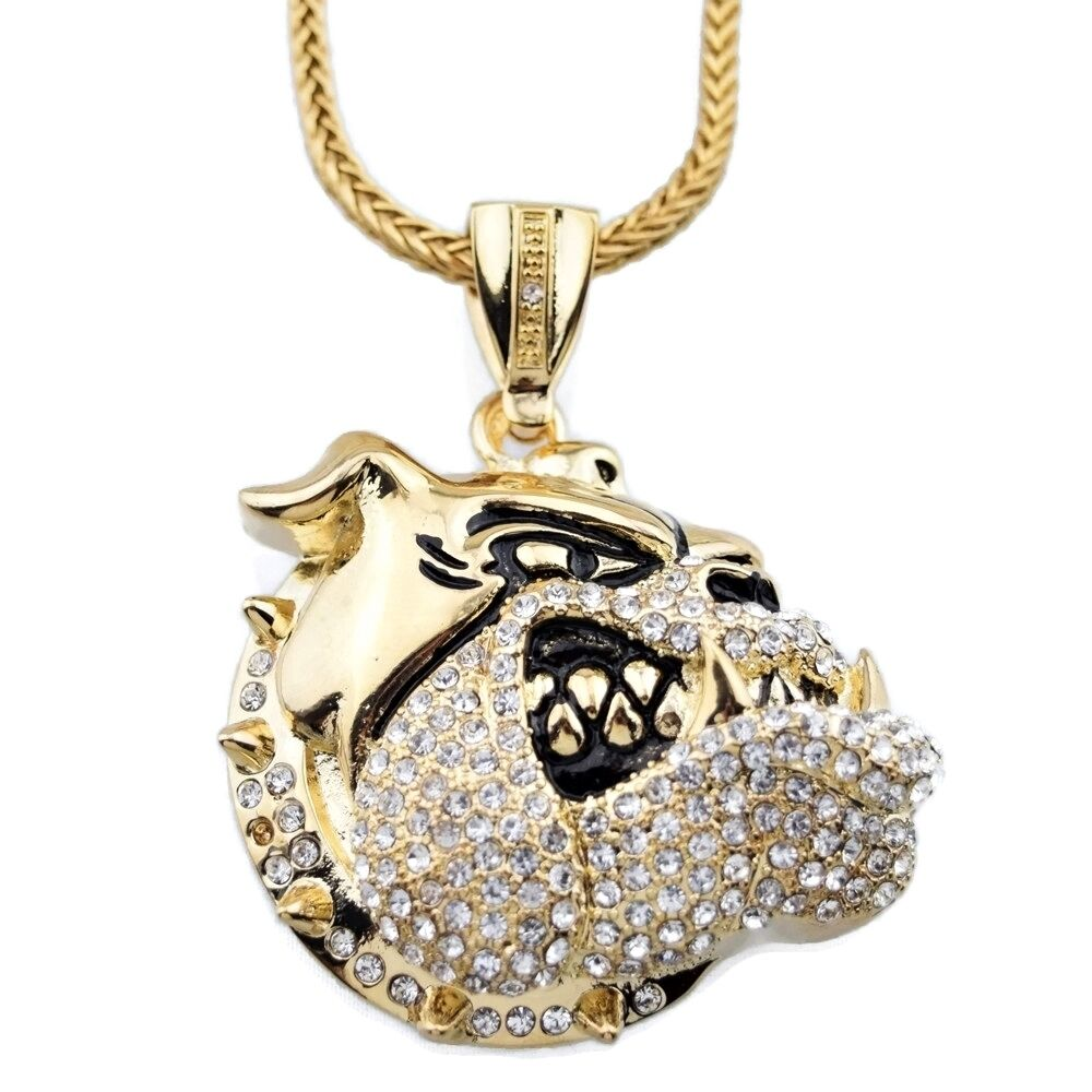 "Iced-Out Bulldog Pendant Micro Pave Gold Tone 36"" Franco"