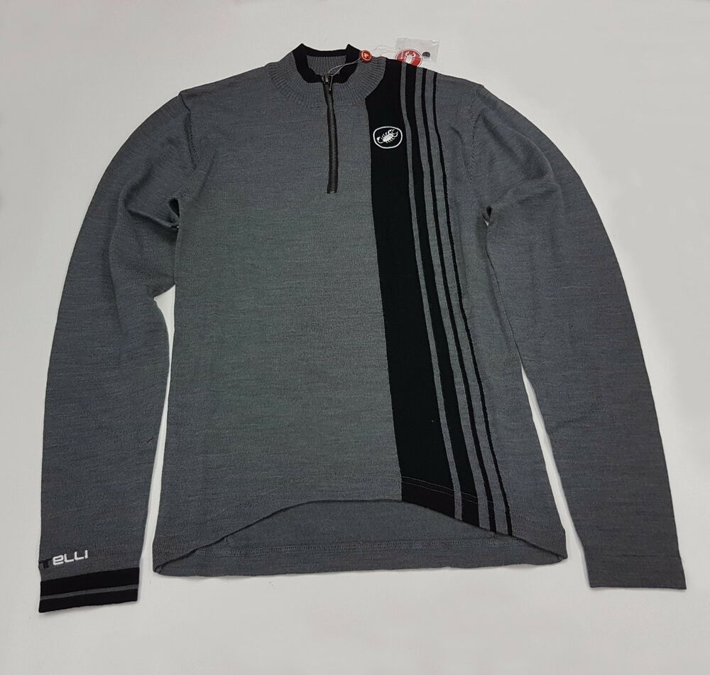 0c4fb49b8 Details about Castelli Winter Costante Men s Long Sleeve Cycling Wool Jersey  Grey Size L