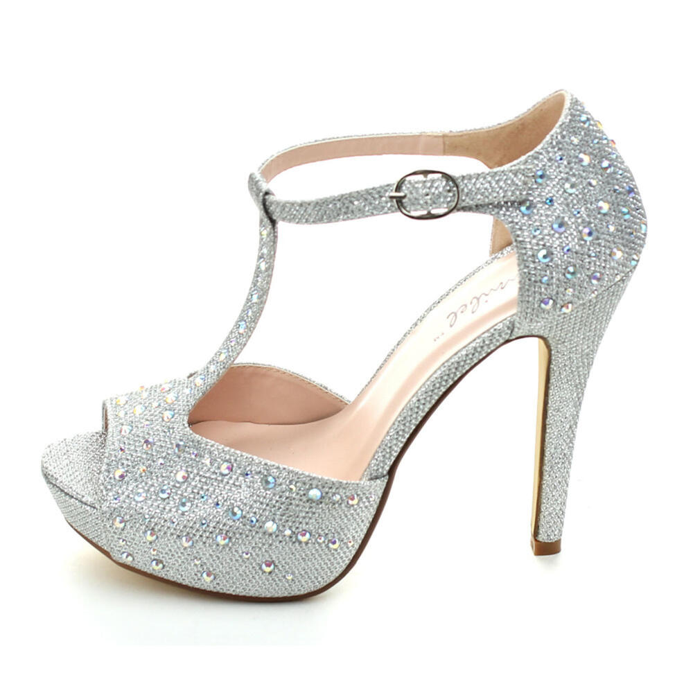 Bridal Shoes High Heels: New Silver High Heel Platform Sandals Rhinestone Bridal