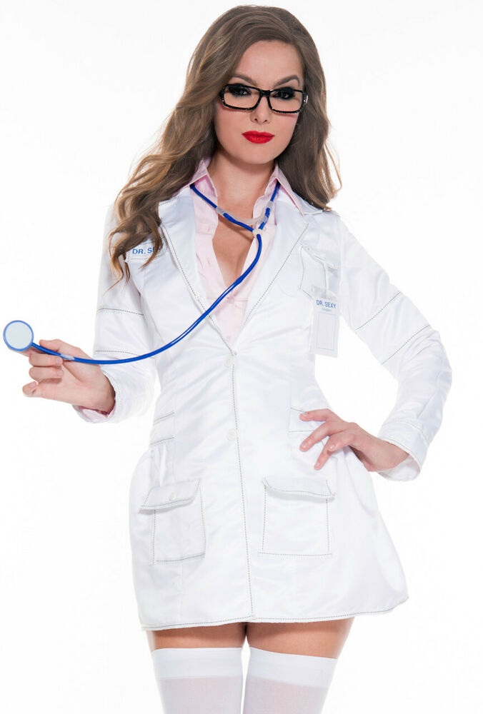 Sexy White Womens Lab Coat Surgeon Doctor Costume  Ebay