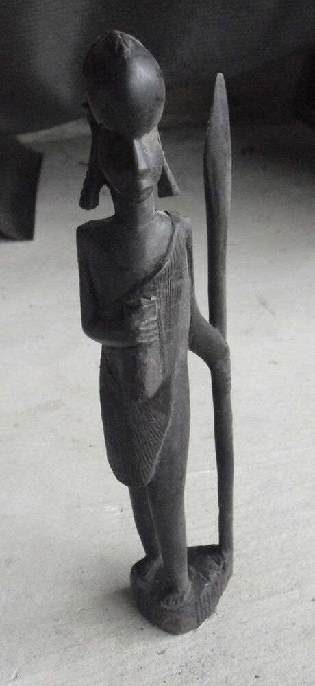 Vintage Hand Carved Wood African Tribal Hunter With Spear Statue 10 1 2 Quot Tall Ebay