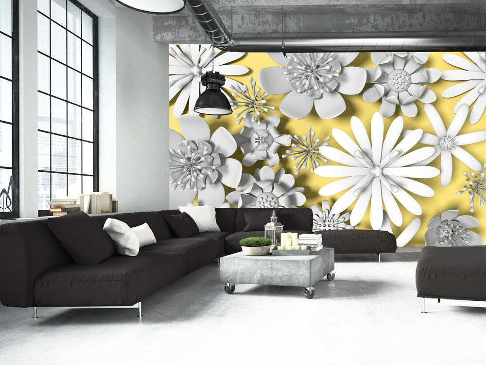 Photo wallpaper serrated flowers giant wall decor paper - Photo decoration on wall ...