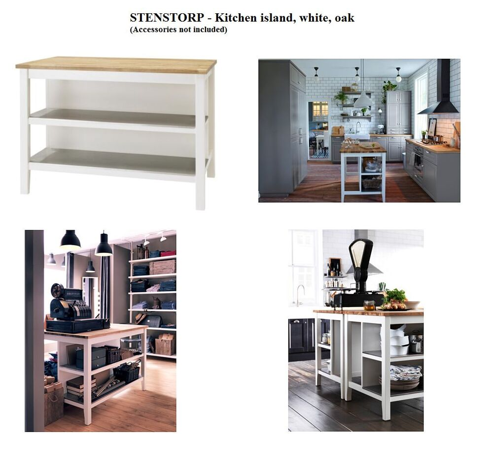 Kitchen Island Bench For Sale Ebay: Brand New IKEA STENSTORP Island Bench, White, Oak, Kitchen