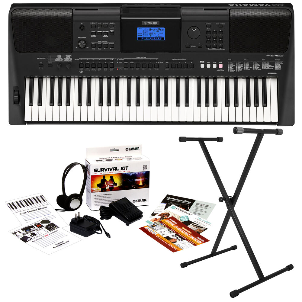 yamaha psr e453 portable keyboard key essentials bundle ebay. Black Bedroom Furniture Sets. Home Design Ideas
