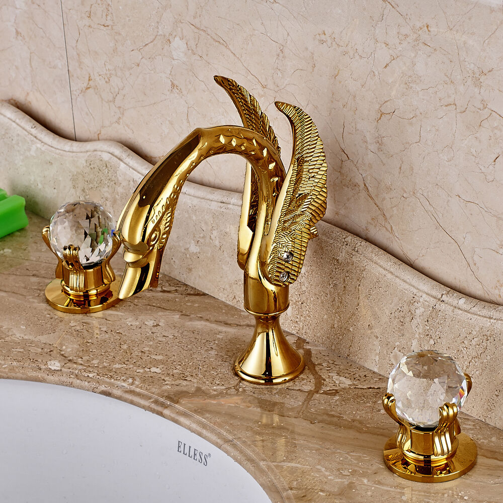 Double Crystal Knobs Basin Faucet Widepspread 3 Holes Sink Mixer Tap Gold Finish Ebay