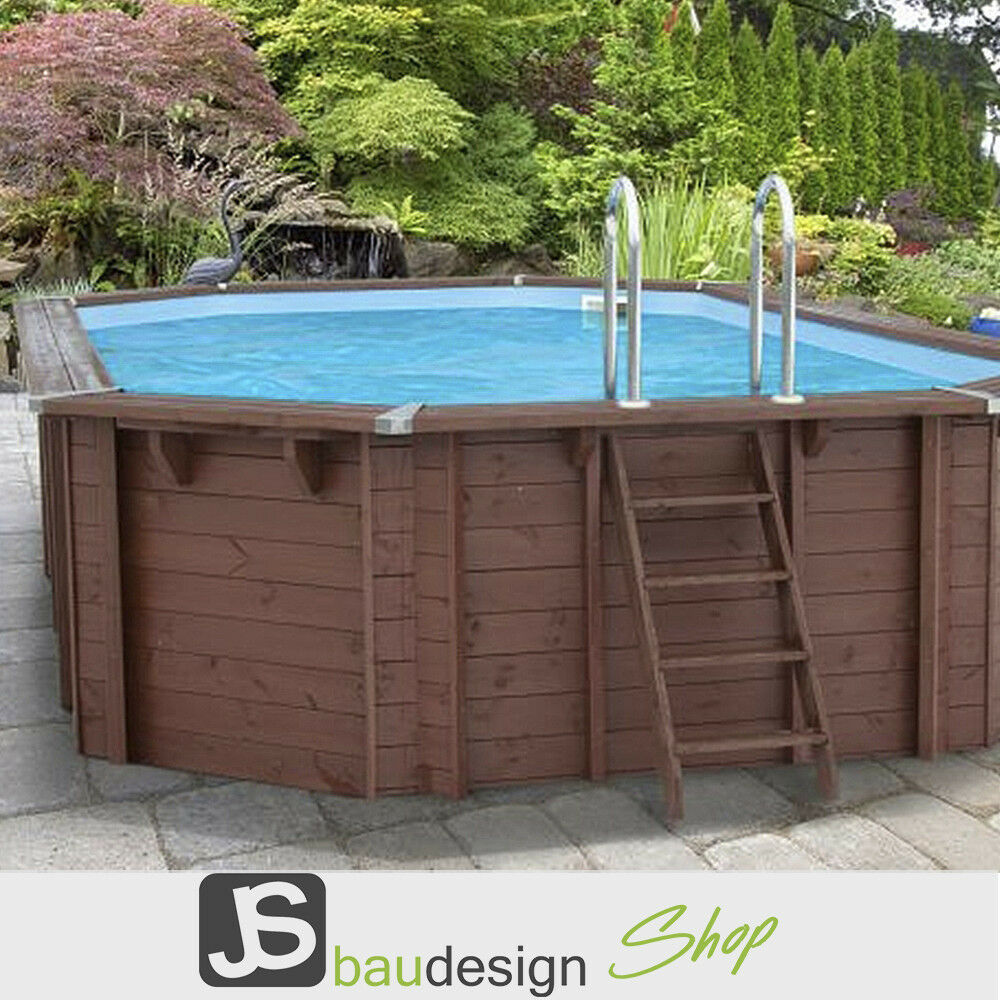 Holzpool bali oval 640x400 cm gartenpool outdoorpool pool for Gartenpool holz