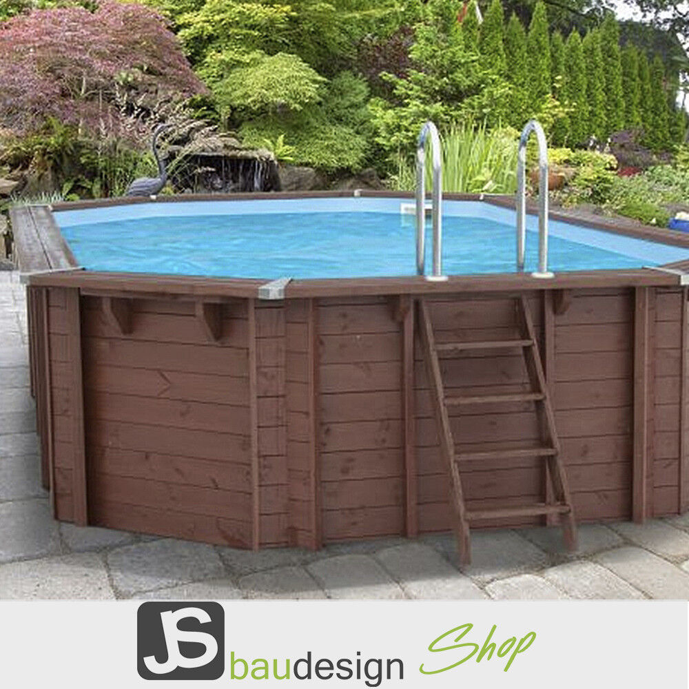 Holzpool bali oval 640x400 cm gartenpool outdoorpool pool for Gartenpool oval