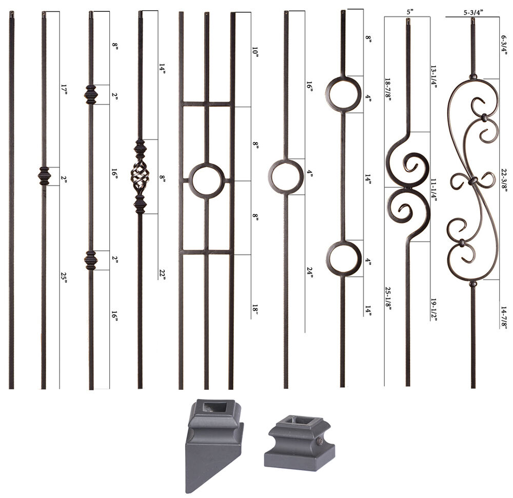 Solid Satin Black Modern Series Iron Balusters