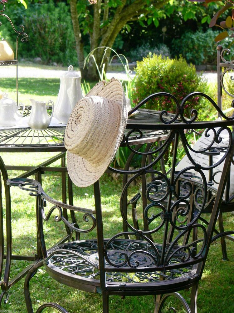 French Garden Set Table 4 Chairs Wrought Iron Outdoor