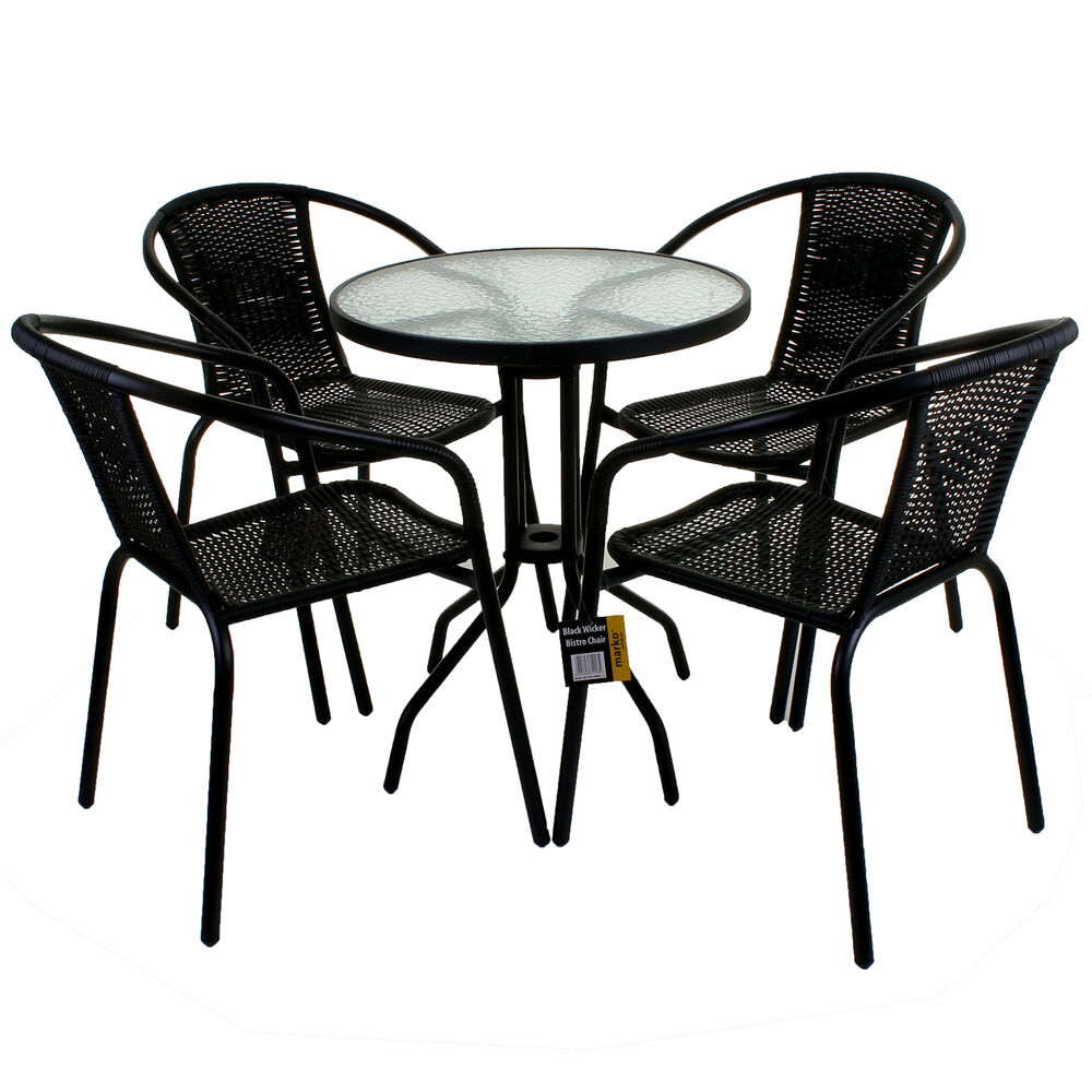 5 piece garden patio all weather black wicker bistro set for Table ronde metal