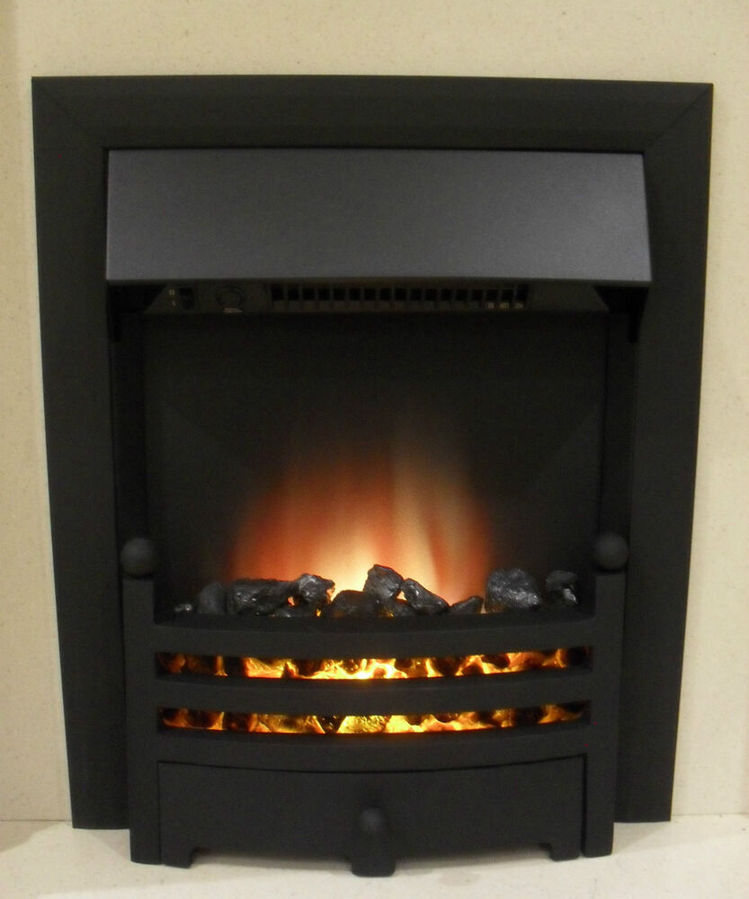 Electric Black Surround Remote Control Modern Fireplace