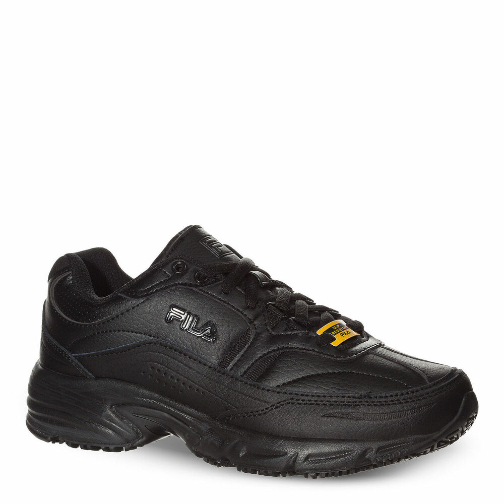 NEW Fila Men's Memory Foam Workshift Slip-Resistant Black Lace Up ...