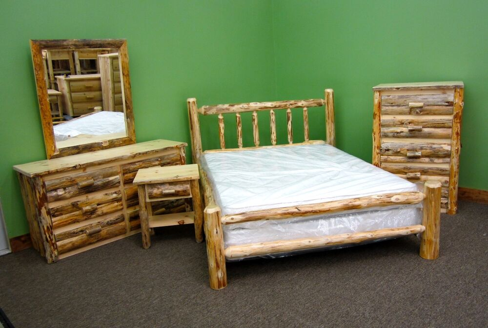 Rustic pine queen log bedroom suite 5 pc set 2459 for Ebay bedroom suites