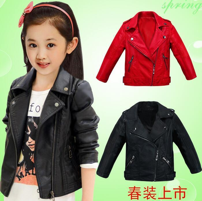 new children's clothing girls PU leather jacket Children's ...