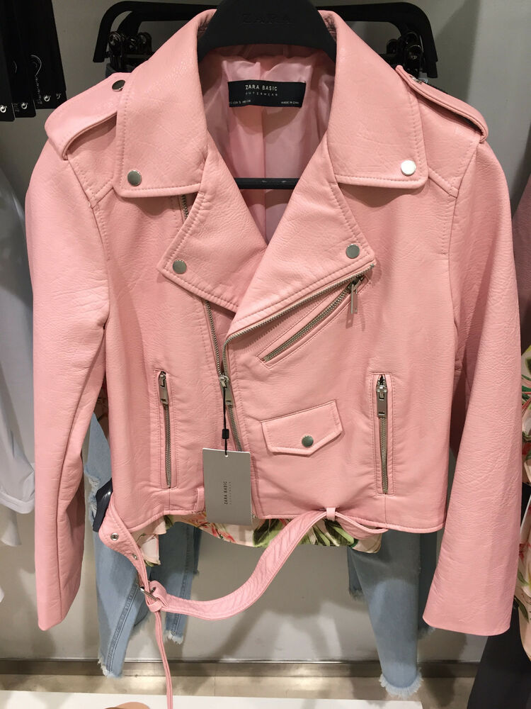 ZARA BIKER FAUX LEATHER JACKET PINK XS-XL Ref. 3046/221 | eBay