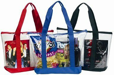 Large Clear Tote Bag Zipper Closure Black Grocery Plastic