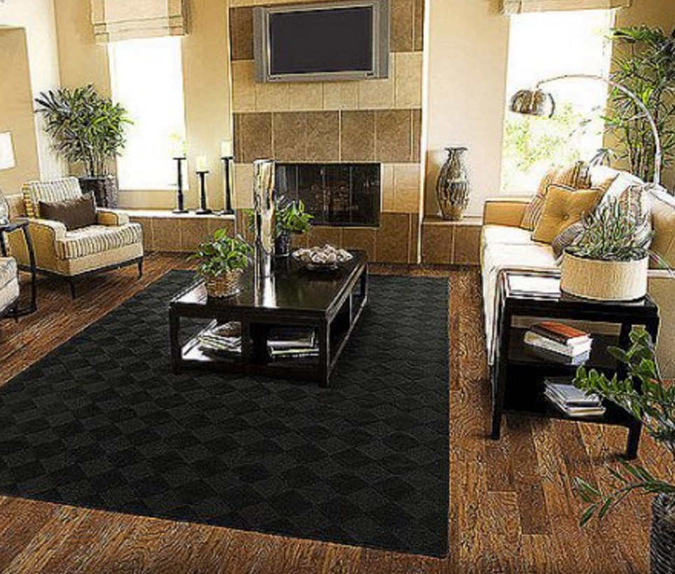 Solid black area rug carpet 5 x 7 size rugs floor decor for Modern living room rugs