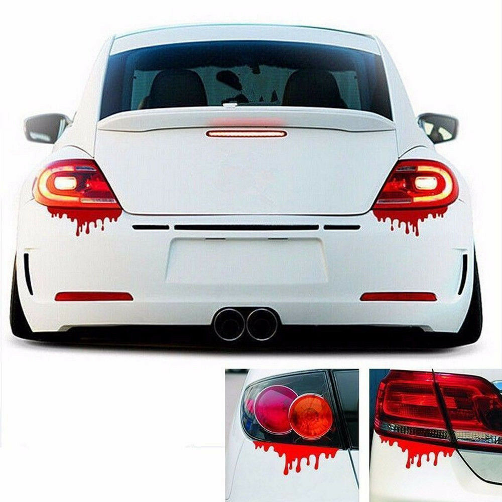 2pcs red blood car stickers reflective auto car decals bumper body sticker decal ebay. Black Bedroom Furniture Sets. Home Design Ideas