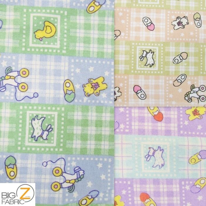 Baby playtime print flannel fabric by the yard poly cotton for Children s flannel fabric by the yard