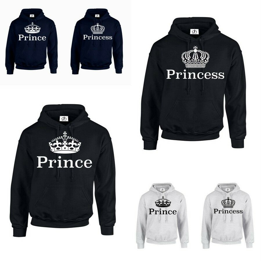 prince princess king queen crown hoodie jumper mr mrs. Black Bedroom Furniture Sets. Home Design Ideas