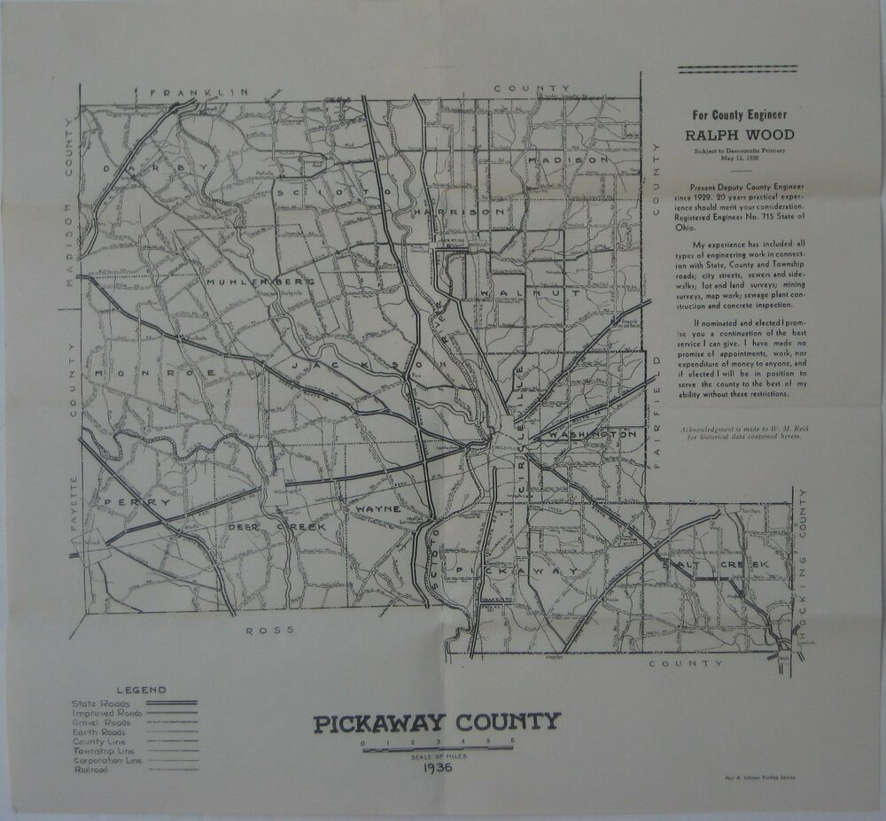 Official 1936 Road Map PICKAWAY COUNTY Ohio
