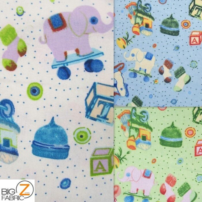 Elephant playtime print flannel fabric by the yard for Children s clothing fabric by the yard