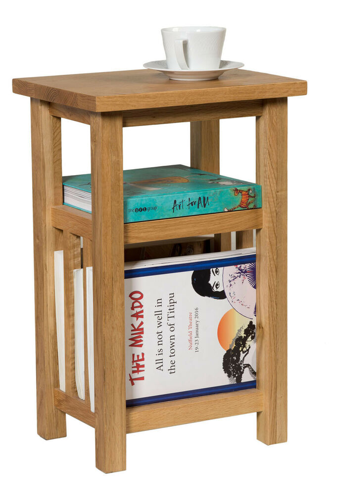 Small oak magazine rack side table wooden coffee lamp for Small wood end table