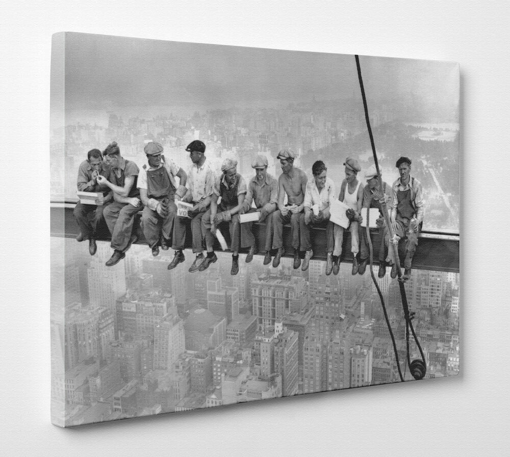 High Lights Of New York Skyline Canvas Wall Art: Large Men On Girder Lunch Iconic New York Skyline Canvas