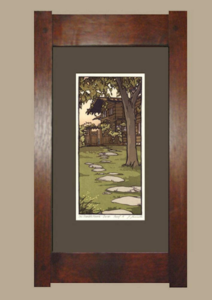 Framed arts and crafts signed limited linoleum block print for Arts and crafts style prints