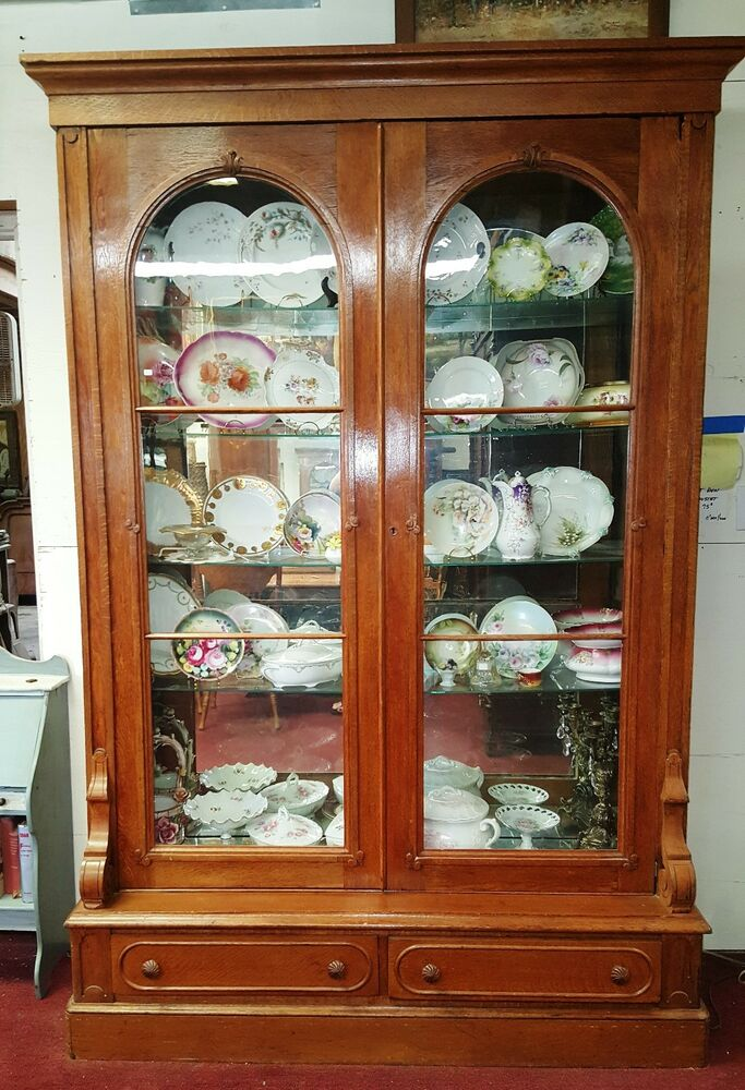 glass door display cabinet antique american oak display cabinet bookcase vitrine 2 15838